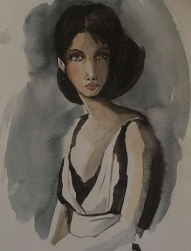 Akvarellmåleri - Kvinna två