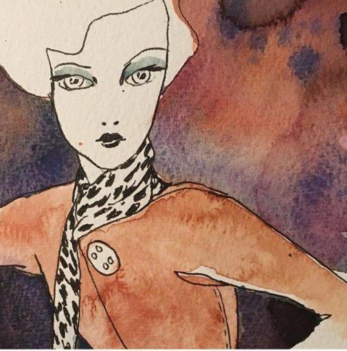 Akvarellmåleri - Kvinna